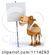 Clipart 3d Camel With A Sign 4 Royalty Free CGI Illustration