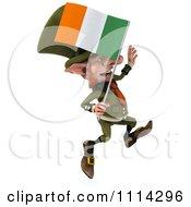 3d Leprechaun Carrying An Irish Flag 3
