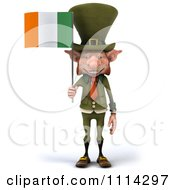 Clipart 3d Leprechaun Carrying An Irish Flag 1 Royalty Free CGI Illustration by Julos
