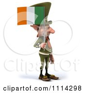 Clipart 3d Leprechaun Carrying An Irish Flag 2 Royalty Free CGI Illustration by Julos