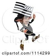 3d Korrigan Dwarf With A Breton Flag 3