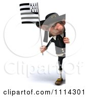 3d Korrigan Dwarf With A Breton Flag And Sign