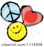 Clipart Peace Love And Happiness Icons Royalty Free Vector Illustration by Johnny Sajem