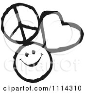 Clipart Peace Love And Happiness Icons In Black And White Royalty Free Vector Illustration by Johnny Sajem