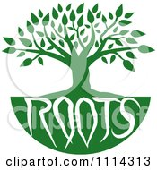 Clipart Green Family Tree With Roots Text Royalty Free Vector Illustration by Johnny Sajem