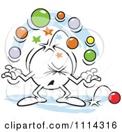 Clipart Moodie Character Juggling With Too Many Balls Royalty Free Vector Illustration