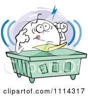 Clipart Frustrated Moodie Character Trying To Focus At A Desk Royalty Free Vector Illustration