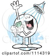 Clipart Moodie Character Singing In The Shower Royalty Free Vector Illustration
