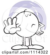Clipart Moodie Character Holding Out A Talk To The Hand Palm Royalty Free Vector Illustration