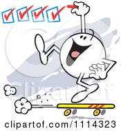 Clipart Moodie Character On A Roll Checking Off Boxes Royalty Free Vector Illustration by Johnny Sajem