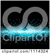 Clipart Black Background With Illuminated Blue Pixels Royalty Free Vector Illustration by dero