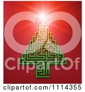 Clipart 3d Light Shining On A Green Maze Christmas Tree Over Red Royalty Free CGI Illustration