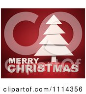 Clipart 3d White Tree With Merry Christmas Text On Red Royalty Free CGI Illustration by Mopic
