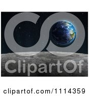 Clipart The Moons Surface With Earth Rising 1 Royalty Free CGI Illustration