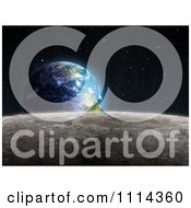 Clipart The Moons Surface With Earth Rising 2 Royalty Free CGI Illustration