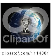 Clipart 3d Gear Cog Mechanism Through A Key Hole In Earth Royalty Free CGI Illustration