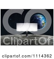 Clipart Illuminated Billboard Sign On The Moons Surface With Earth Rising In The Background Royalty Free CGI Illustration