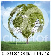 3d Globe Tree With Leafy Continents In A Field
