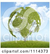 3d Globe Tree With Leafy Continents On A Hill