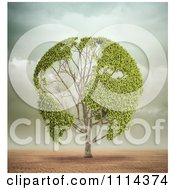 3d Globe Tree With Leafy Continents In A Desert