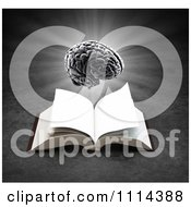 Clipart 3d Glowing Brain Hovering Over An Open Book On Gray Royalty Free CGI Illustration