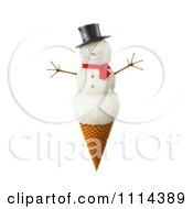 Clipart 3d Snowman Waffle Ice Cream Cone Royalty Free CGI Illustration by Mopic