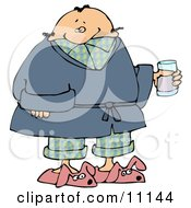 Ill Man In PJs Slippers And A Robe Taking Cold Medicine While Staying Home On A Sick Day Clipart Picture