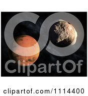 Clipart 3d Mars Smaller Moon Deimos With The Planet In The Background Royalty Free CGI Illustration
