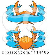 Clipart Orange Crabs And Blue Ribbon Banners Royalty Free Vector Illustration