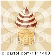 Clipart Ice Cream Cup With Vanilla And Chocolate Swirls Over Rays Royalty Free Vector Illustration by Any Vector