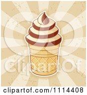 Ice Cream Cup With Vanilla And Chocolate Swirls Over Rays