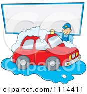Man Washing A Red Car Under A Sign