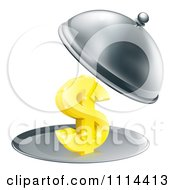 Clipart 3d Gold Dollar Symbol On A Silver Platter Under A Cloche Royalty Free Vector Illustration