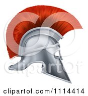 Clipart 3d Silver And Red Corinthian Trojan Helmet - Royalty Free Vector Illustration by AtStockIllustration