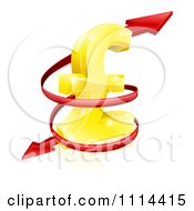 Clipart 3d Red Spiraling Arrow Around A Golden Lira Pound Currency Symbol Royalty Free Vector Illustration by AtStockIllustration