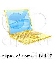 Clipart 3d Golden Laptop With Blue Waves On The Screen Royalty Free Vector Illustration by AtStockIllustration