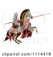 Clipart 3d Knight Holding A Jousting Lance On A Rearing Horse Royalty Free Vector Illustration by AtStockIllustration