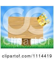 Clipart 3d Crown On A Wooden Sign With Rays And Grass Royalty Free Vector Illustration