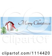 Clipart Giant 3d Gift Box In A Winter Landscape With Merry Christmas Text Royalty Free Vector Illustration by AtStockIllustration
