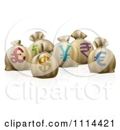 Clipart 3d Money Sacks With Colorful Currency Symbols Royalty Free Vector Illustration
