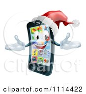 Clipart 3d Christmas Cell Phone Wearing A Santa Hat Royalty Free Vector Illustration