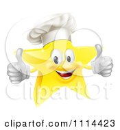 Clipart 3d Chef Star Holding Two Thumbs Up Royalty Free Vector Illustration by AtStockIllustration