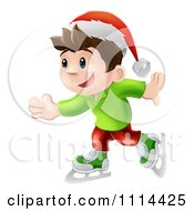 Clipart Happy Christmas Elf Boy Ice Skating And Wearing A Santa Hat Royalty Free Vector Illustration