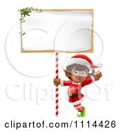 Clipart Happy Girl Christmas Elf Waving Under A Christmas Sign Royalty Free Vector Illustration by AtStockIllustration