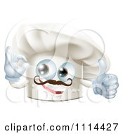 Clipart Happy Chef Hat Mascot With A Mustache Holding A Thumb Up And Gesturing Ok Royalty Free Vector Illustration by AtStockIllustration