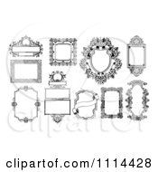 Clipart Ornate Black And White Frames And Banners Royalty Free Vector Illustration by AtStockIllustration