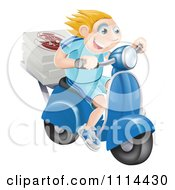 Clipart Happy Blond Pizza Delivery Man Speeding On A Moped Royalty Free Vector Illustration