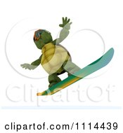 Clipart 3d Tortoise Snowboarding Royalty Free CGI Illustration by KJ Pargeter