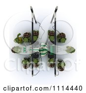 Clipart Aerial View Of 3d Tortoises Pit Crew Royalty Free CGI Illustration