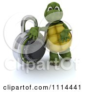 3d Tortoise Leaning On A Padlock